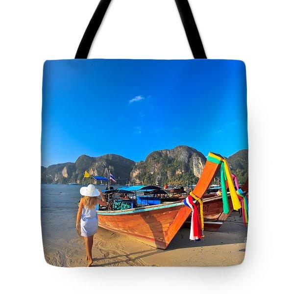 Boats At Phi Phi Island Tote Bag