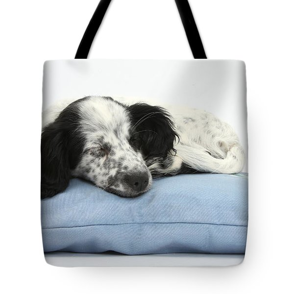 Border Collie X Cocker Sleeping Puppy Tote Bag by Mark Taylor