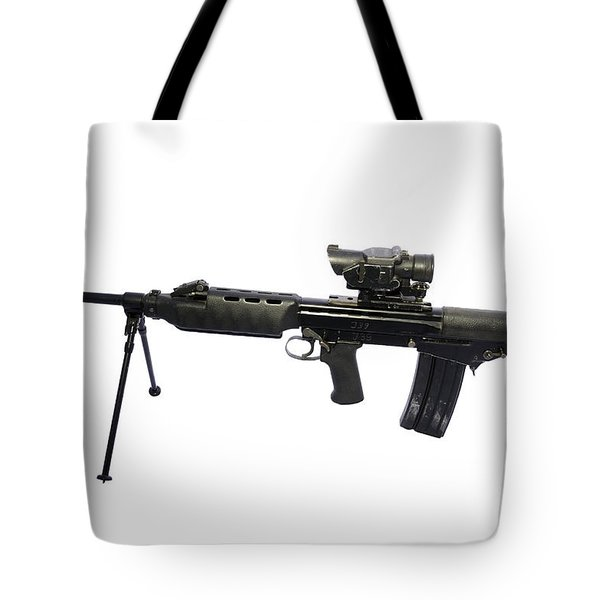 British Prototype 4.56mm Light Support Tote Bag by Andrew Chittock