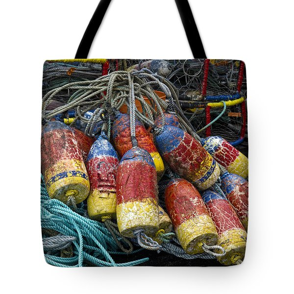 Buoys And Crabpots On The Oregon Coast Tote Bag by Carol Leigh
