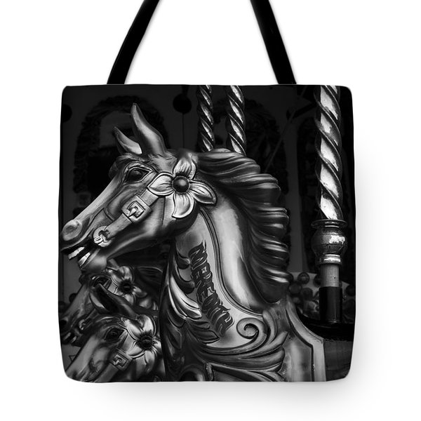 Tote Bag featuring the photograph Carousel Horses Mono by Steve Purnell