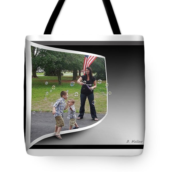 Tote Bag featuring the photograph Chasing Bubbles by Brian Wallace