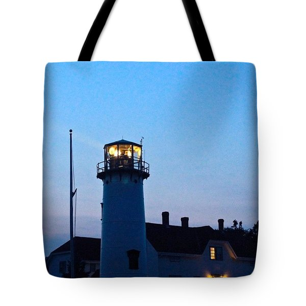 Chatham Light At Dusk  Tote Bag by Justin Connor