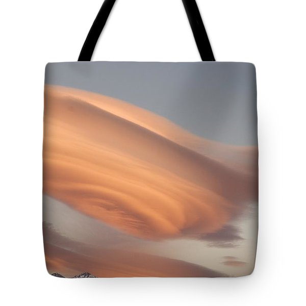 Clouds At Sunset Above Mountain Peaks Tote Bag by Eryk Jaegermann