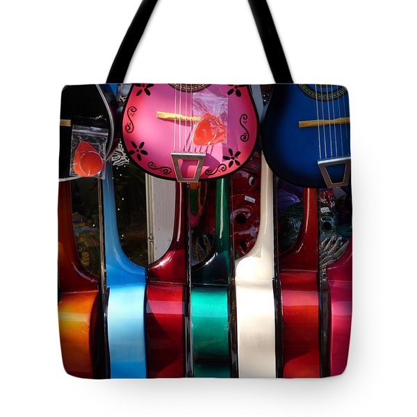 Colorful Guitars Tote Bag by Jeff Lowe
