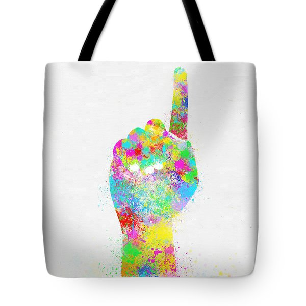 Colorful Painting Of Hand Pointing Finger Tote Bag by Setsiri Silapasuwanchai