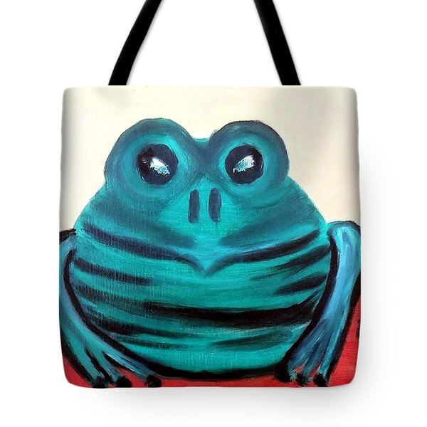 Contented Male Frog Tote Bag by Margaret Harmon