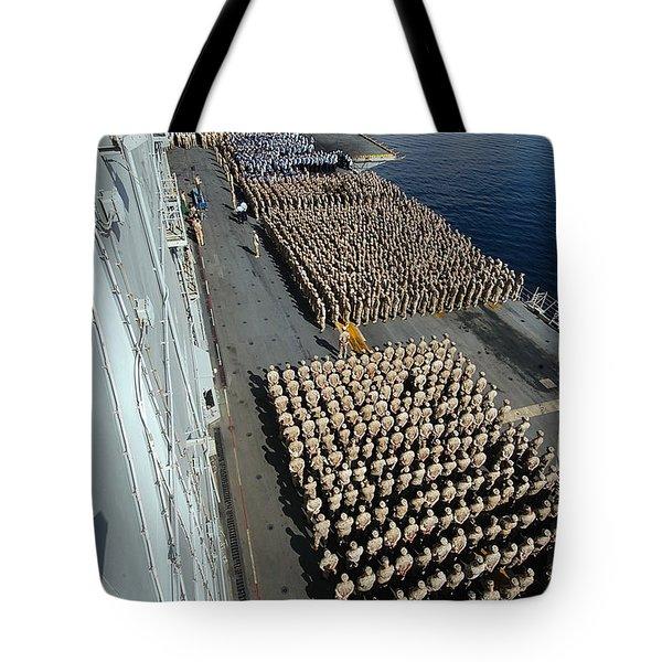 Crew Aboard The Amphibious Assault Ship Tote Bag