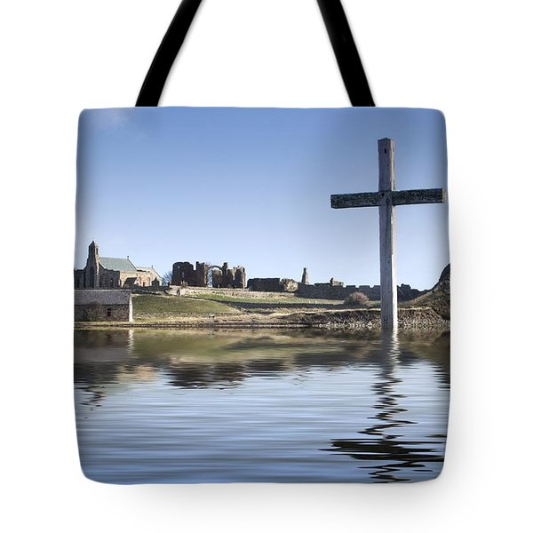 Cross In Water, Bewick, England Tote Bag by John Short