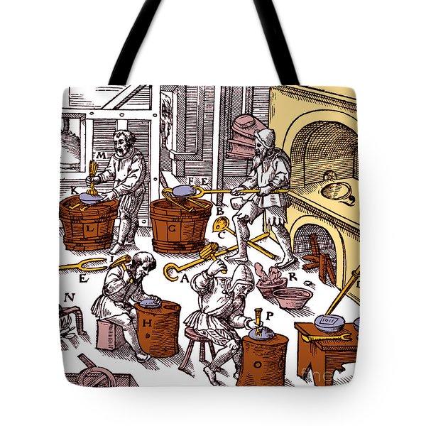 De Re Metallica, Metallurgy Workshop Tote Bag by Science Source