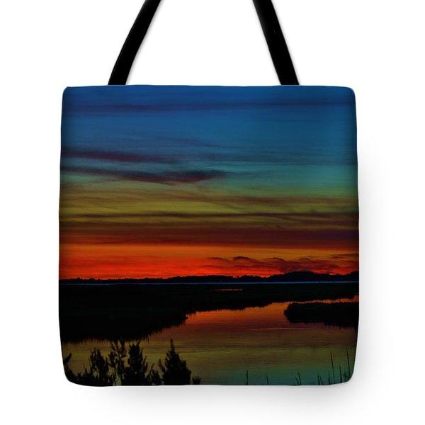 Deep Marshland Sunset Tote Bag