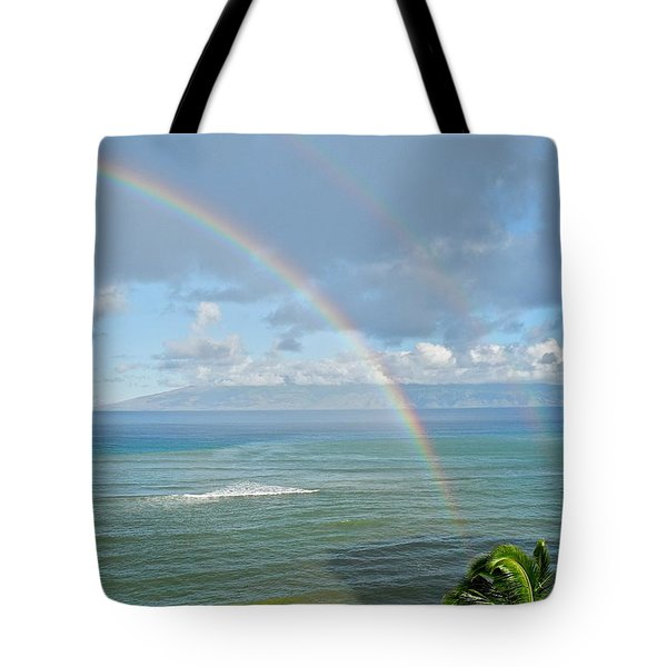 Tote Bag featuring the photograph Double Rainbow In Maui by Kirsten Giving