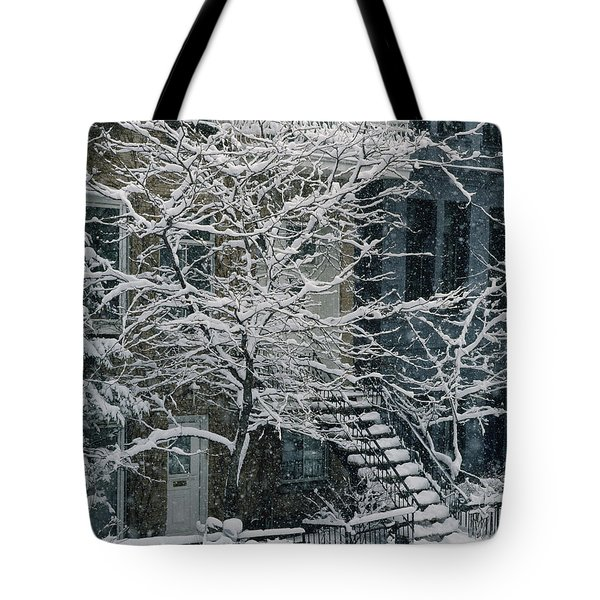 Drolet Street In Winter, Montreal Tote Bag by Yves Marcoux