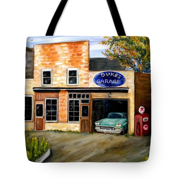 Duke's Garage Tote Bag by Renate Nadi Wesley