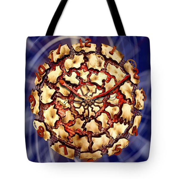 Exploding Clock Tote Bag by Mike McGlothlen