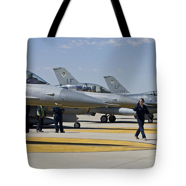 F-16 Pilots Work With Crew Chiefs Tote Bag by HIGH-G Productions