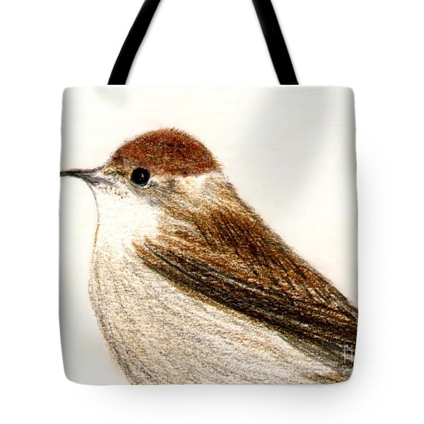Tote Bag featuring the drawing Female Blackcap  by Barbara Moignard
