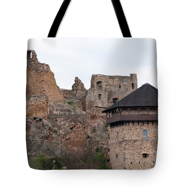 Tote Bag featuring the photograph Filakovo Hrad - Castle by Les Palenik
