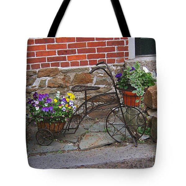 Flower Bicycle Basket Tote Bag