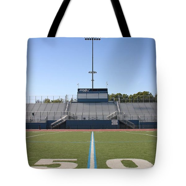 Tote Bag featuring the photograph Football Field Fifty by Henrik Lehnerer