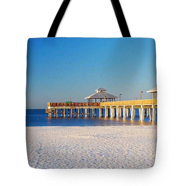 Fort Myers Beach Pier Tote Bag
