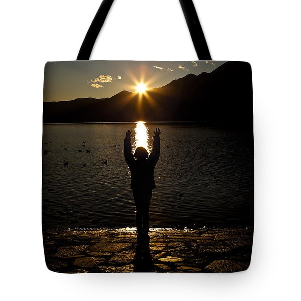 Girl With Sunset Tote Bag by Joana Kruse