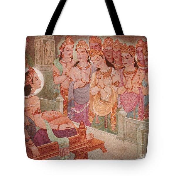 Gods Entertaining Mahavira Tote Bag by Photo Researchers