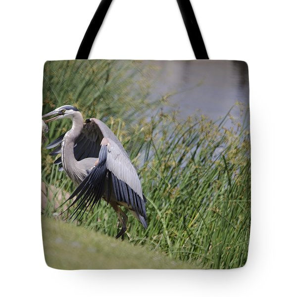 Great Blue Heron Tote Bag by Donna Greene