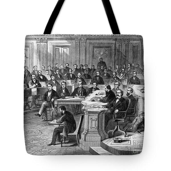 Impeachment Vote Tote Bag by Photo Researchers