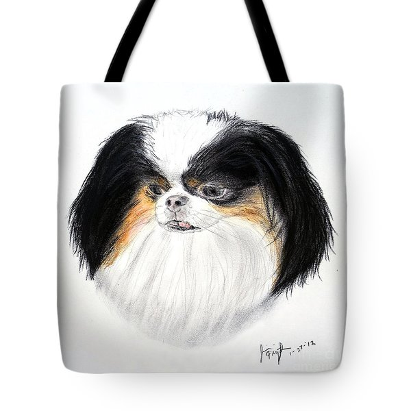 Tote Bag featuring the drawing Japanese Chin Dog Portrait by Jim Fitzpatrick