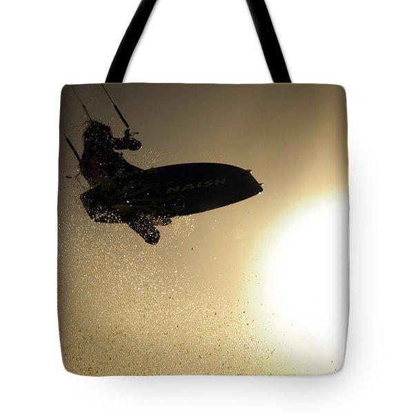 Kitesurfing At Sunset Tote Bag by Hagai Nativ