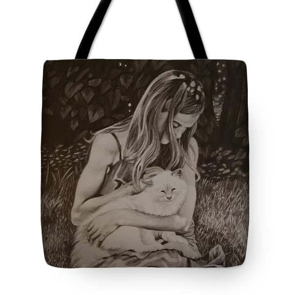 Tote Bag featuring the painting Kitty Love by Tammy Taylor