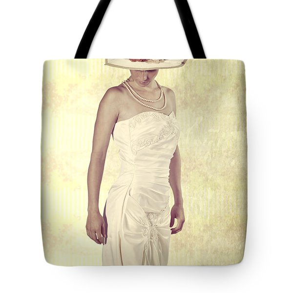 Lady In White Dress Tote Bag by Joana Kruse