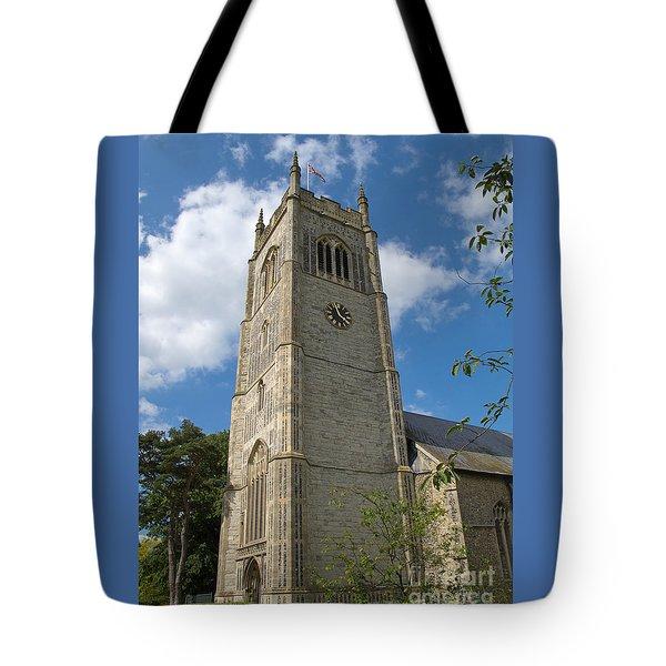 Laxfield Church Tower Tote Bag by Ann Horn