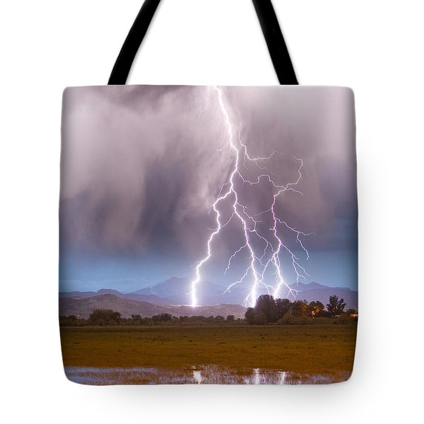 Lightning Striking Longs Peak Foothills 6 Tote Bag by James BO  Insogna