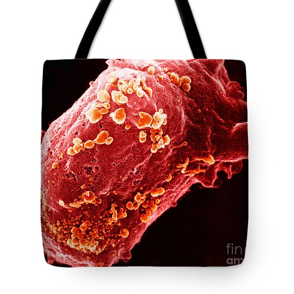 Lymphocyte With Hiv Cluster Tote Bag by Science Source