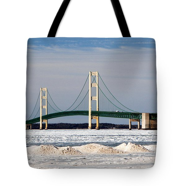 Mackinac Bridge In Winter Tote Bag