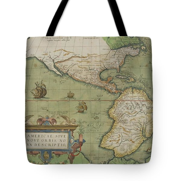 Map Of North And South America Tote Bag by Abraham Ortelius