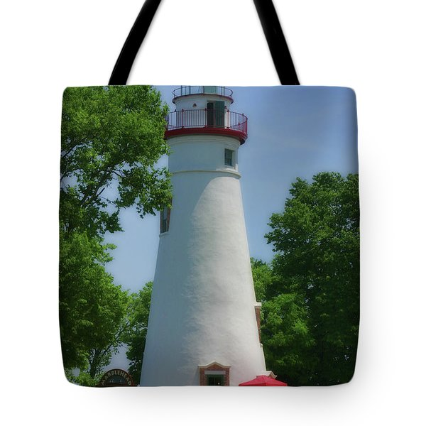 Tote Bag featuring the photograph Marble Head Lighthouse by Joan Bertucci