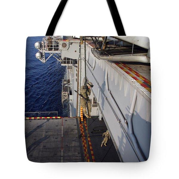 Marines And Sailors Fast-rope Tote Bag by Stocktrek Images