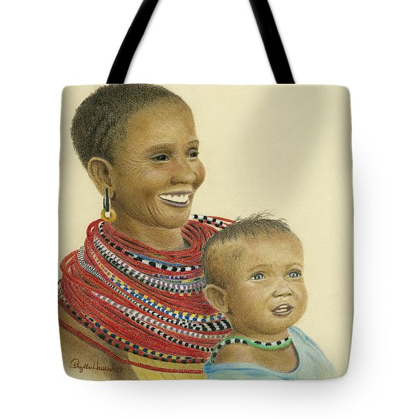 Tote Bag featuring the painting Masai Mom And Babe by Phyllis Howard