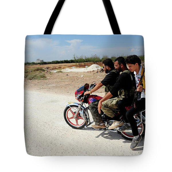 Men From The Free Syrian Army Tote Bag by Andrew Chittock