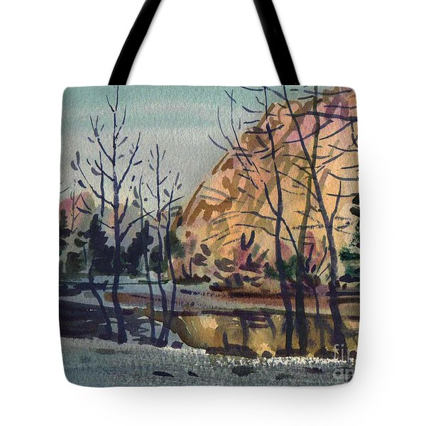 Tote Bag featuring the painting Merced River In Winter by Donald Maier