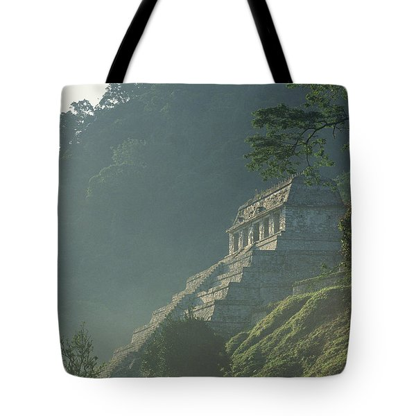 Misty View Of The Temple Tote Bag by Kenneth Garrett