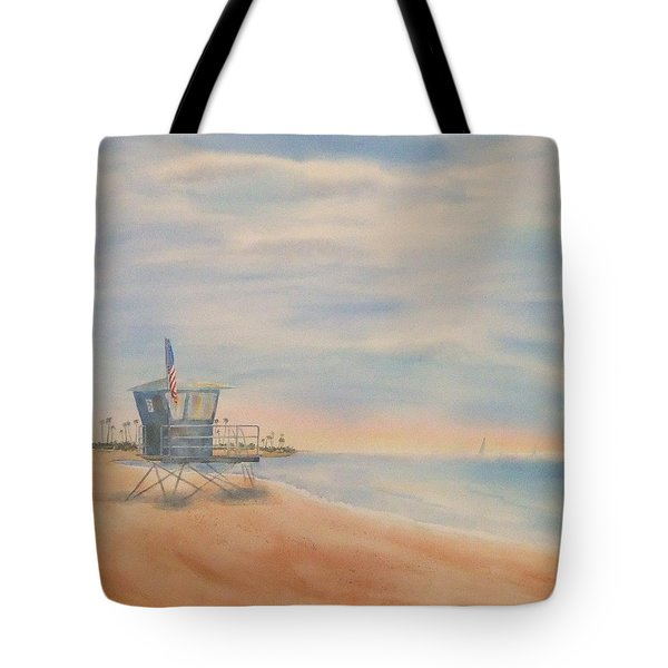 Tote Bag featuring the painting Morning By The Beach by Debbie Lewis