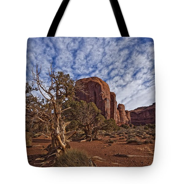 Morning Clouds Over Monument Valley Tote Bag by Robert Postma
