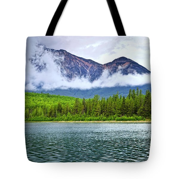 Mountain Lake In Jasper National Park Tote Bag
