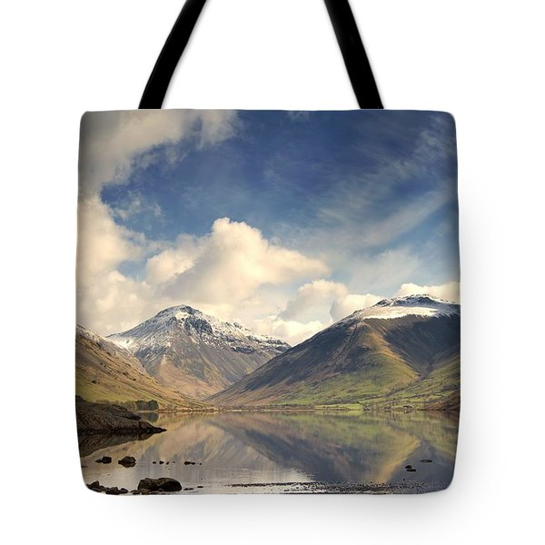 Tote Bag featuring the photograph Mountains And Lake At Lake District by John Short
