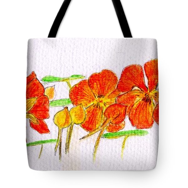 Tote Bag featuring the drawing Nasturtiums by Barbara Moignard