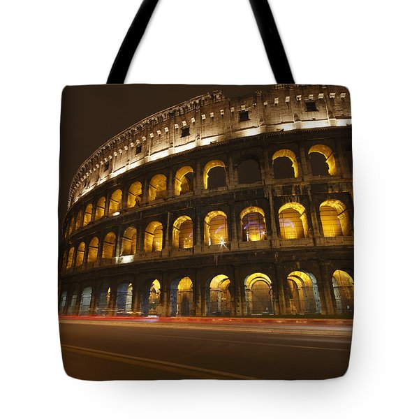 Night Lights Of The Colosseum Rome Tote Bag by Trish Punch